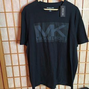 MEN'S MICHAEL KORS BLACK LOGO DESIGNER T-SHIRT